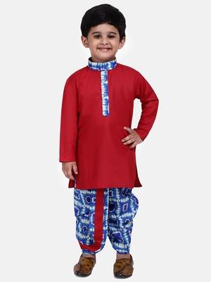 Red plain blended cotton boys-dhoti-kurta
