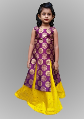 girl bit and yellow indo western gown