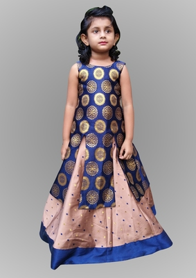 girl blue with brown indo western gown dress