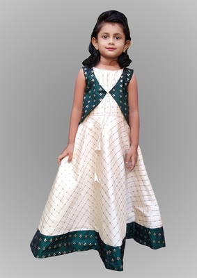 Girl Cream And Green Cotty Type Gown Dress