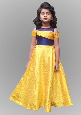 girl yellow gown set