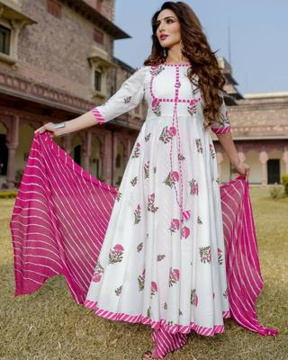 White printed rayon kurtas-and-kurtis