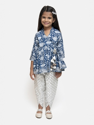 Blue printed cotton girls-top-bottom