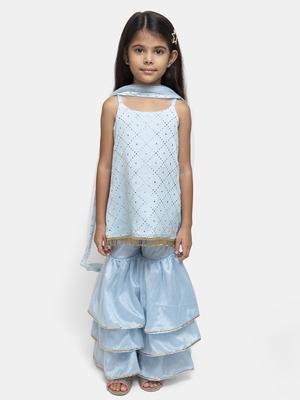 Blue printed silk blend girls-top-bottom