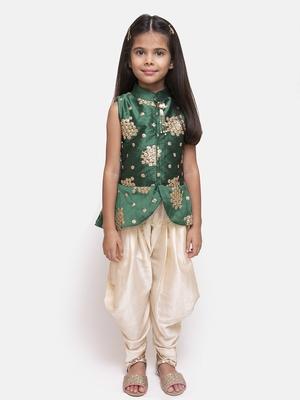 Green printed silk blend girls-top-bottom