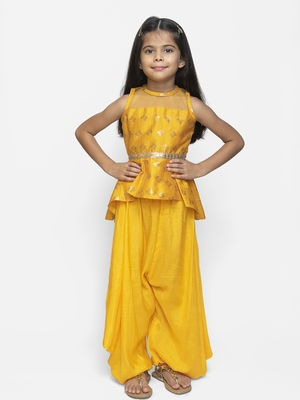 Yellow printed cotton girls-top-bottom
