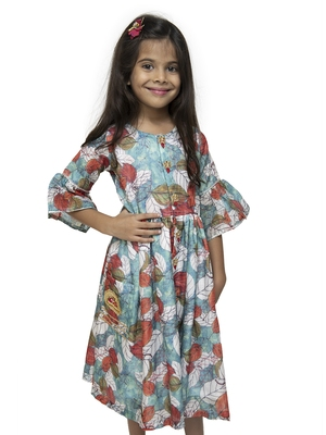 Blue printed blended cotton kids-girl-gowns