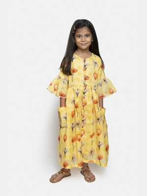 Yellow printed blended cotton kids-girl-gowns