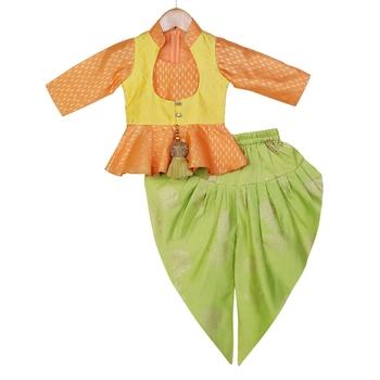 Orange, Yellow, Light Green Peplum Top with Dhoti