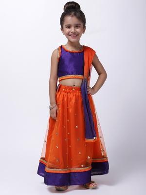 Orange Sequin Net Lehenga Choli For Baby Girl