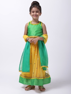 Yellow Sequin Net Lehenga Choli For Baby Girl