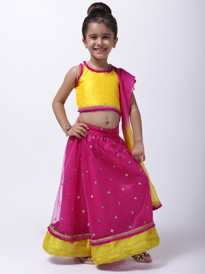 Pink Sequin Net Lehenga Choli For Baby Girl