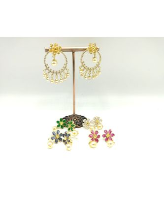 Stone Floral Design 5 Color Changeable Earring for Women