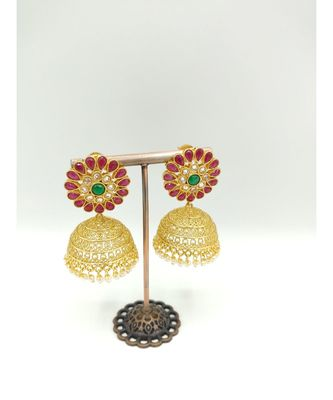 Ruby stone gold plated jhumkas