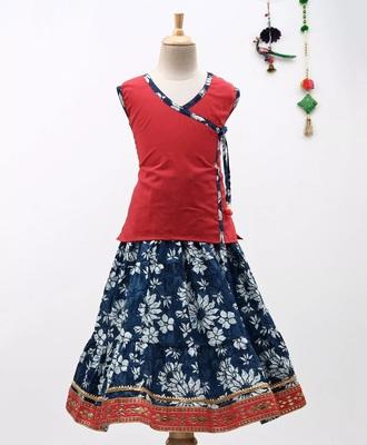 Red Sanganeri Print Cambric Cotton Skirt Top