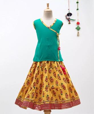 Green Sanganeri Print Cambric Cotton Skirt Top