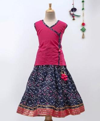 Pink Sanganeri Print Cambric Cotton Skirt Top