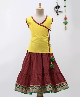 Yellow Sanganeri Print Cambric Cotton Skirt Top
