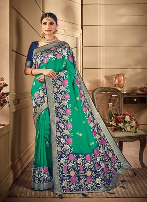 light green woven silk blend saree with blouse