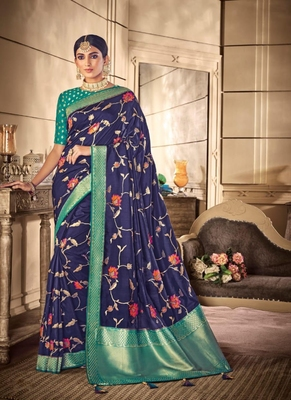 royal blue woven silk blend saree with blouse