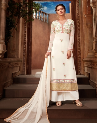 White embroidered georgette salwar