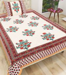 Cotton Jaipuri Hand Printed Floral Single Bedsheet with One Pillow Cover