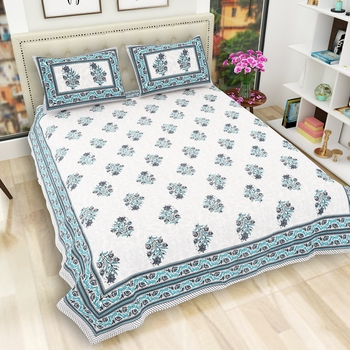Jaipuri Hand Block Printed Traditional Cotton Double Bedsheet with 2 Pillow Covers