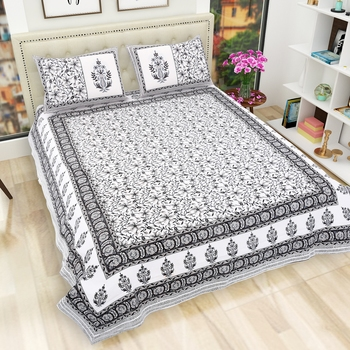 Jaipuri Hand Block Printed Traditional Cotton King Size Bedsheet with 2 Pillow Covers