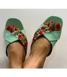 sea green,sequins,flats,handembroidered