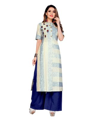cream Lilen Hand Work Women   s Kurta & Kurti