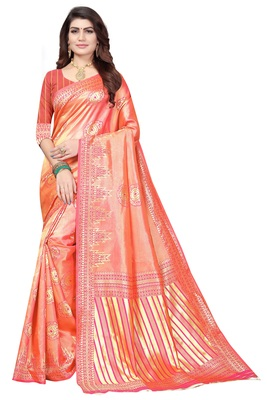 peach woven banarasi saree with blouse