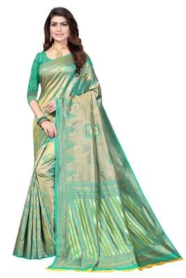 pista woven banarasi saree with blouse