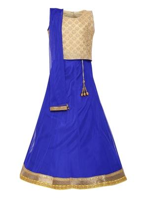 Girl'S Blue Net Lehenga Choli & Dupatta Set