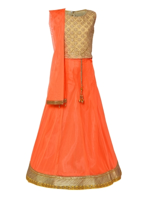 Girl's orange Net Lehenga Choli & Dupatta Set