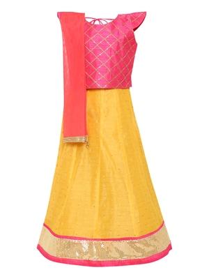 Girl's yellow Silk Lehenga Choli & Dupatta Set