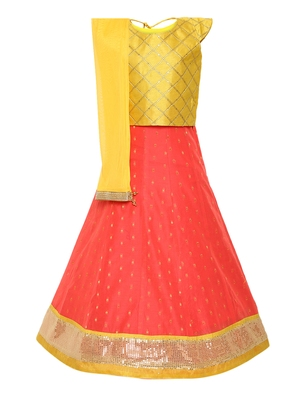 Girl'S Pink Silk Lehenga Choli & Dupatta Set