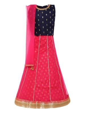 Girl's pink Silk Lehenga Choli & Dupatta Set