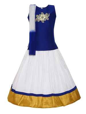 Girl's white Silk Lehenga Choli & Dupatta Set