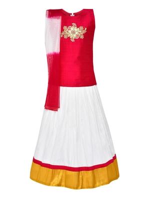Girl's white Silk Lehenga Choli & Dupatta Set