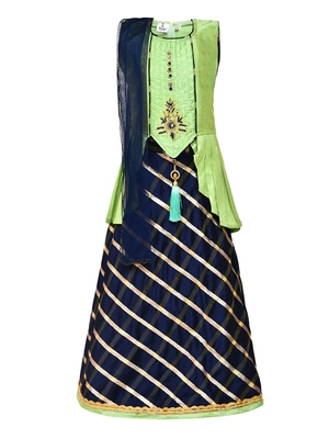 Girl's blue Silk Lehenga Choli & Dupatta Set