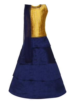 Girl's blue Silk Lehenga Choli & Dupatta Set