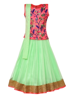 Girl's green Silk Lehenga Choli & Dupatta Set