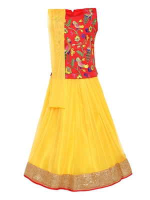 Girl's red Silk Lehenga Choli & Dupatta Set