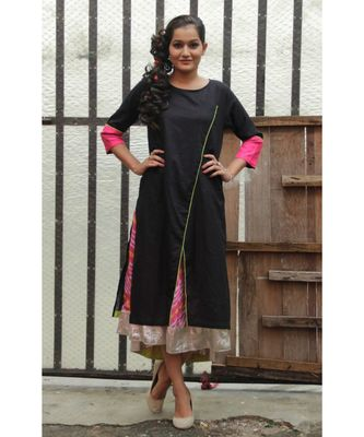 Black and Pink Cotton kurta Set