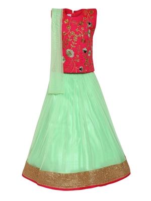 Girl'S Green Silk Lehenga Choli & Dupatta Set