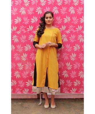 Yellow and Black Cotton kurta Set