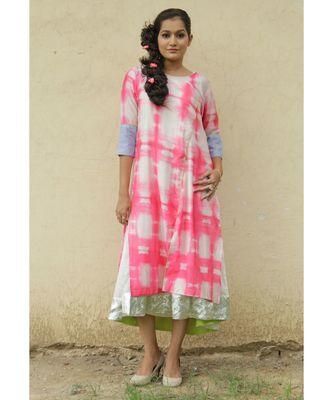 Pink Shibori Cotton kurta Set