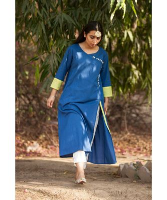 Kai Blue Cotton Kurta and White Pants