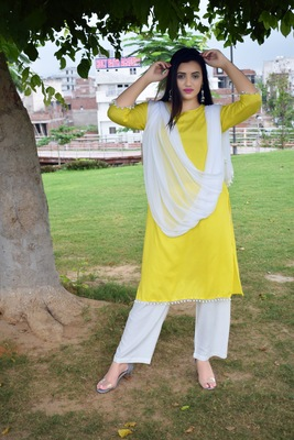 Yellow plain rayon ethnic-kurtis