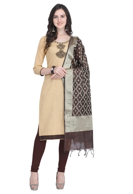 Beige beads cotton salwar